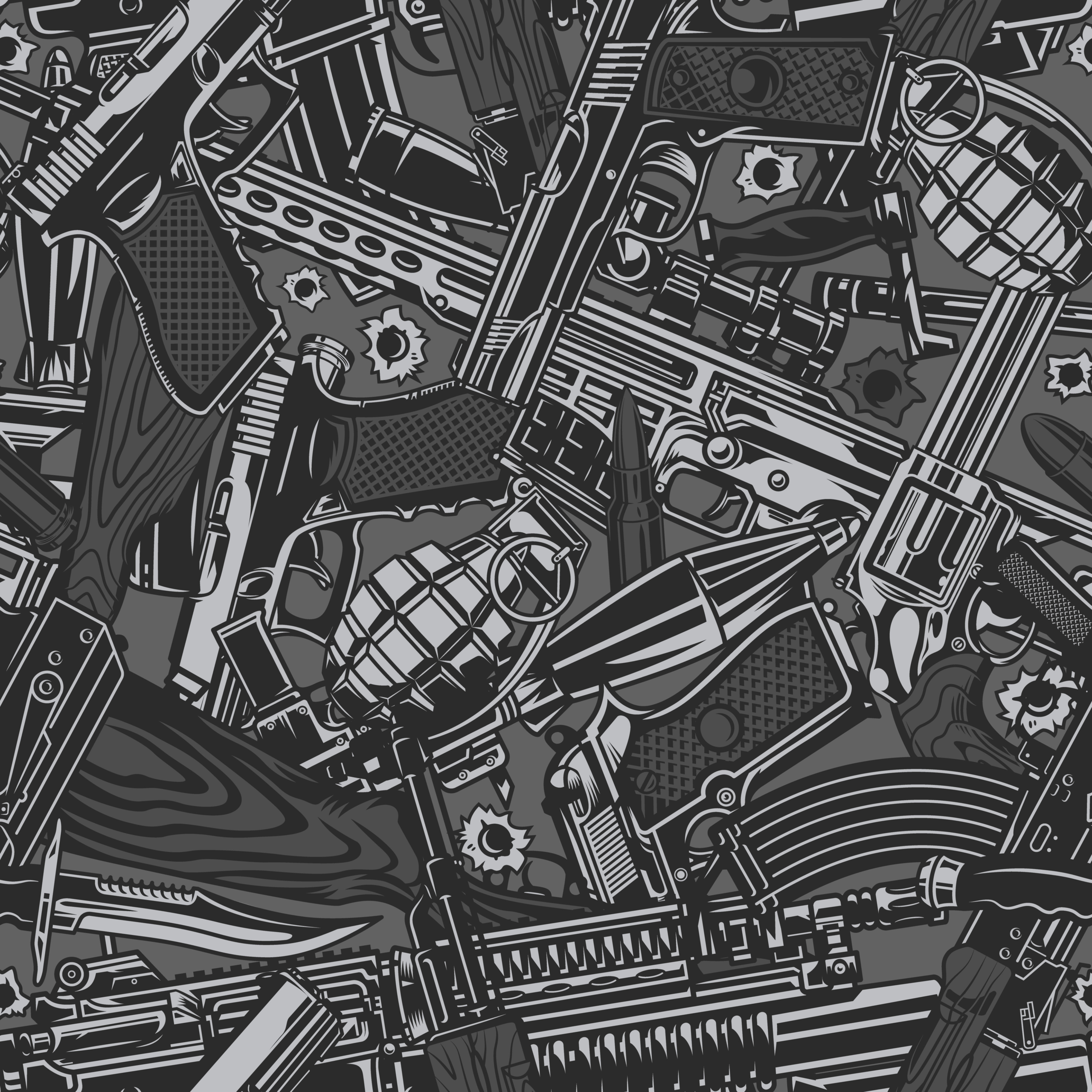 Vintage military weapons seamless pattern with guns pistols grenades automatic and sniper rifles knives in gray colors vector illustration